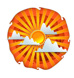 Sun and clouds paper cut vector