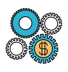 Color sections silhouette of economic development vector