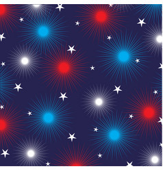 Fireworks and stars on blue vector