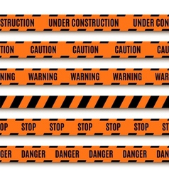Set of orange warning tapes vector