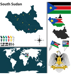 South Sudan map world vector image