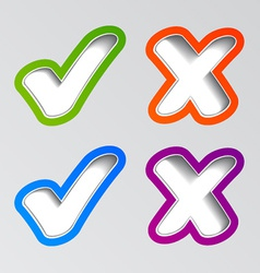 Stylish checkmark stickers vector