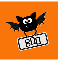 Cute bat with plate boo happy halloween card flat vector