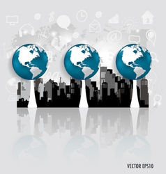 Modern globe with building background vector