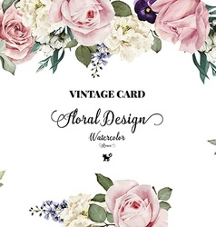 Greeting card with roses watercolor can be used as vector