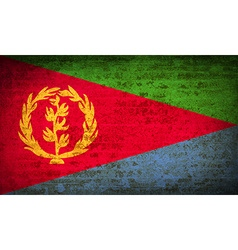 Flags eritrea with dirty paper texture vector