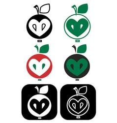 Apple core heart vector