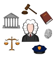 Law judge and justice icons vector