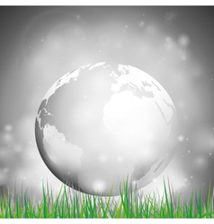 Abstract background of globe with grass view at vector