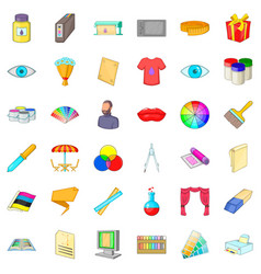 artist icons set cartoon style vector image vector image