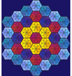 Blue hexagonal stained-glass window vector