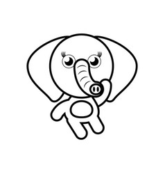 cartoon elephant animal outline vector image vector image