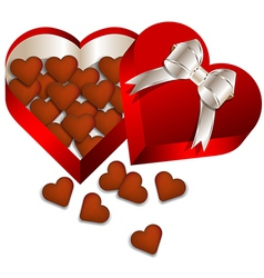 Chocolate valentines day in heart gift box vector