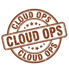 Cloud ops brown grunge stamp vector