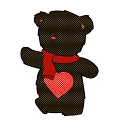 Comic cartoon white teddy bear with love heart vector