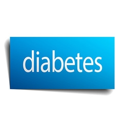 Diabetes blue paper sign on white background vector