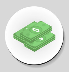 dollars money sticker icon flat style vector image vector image