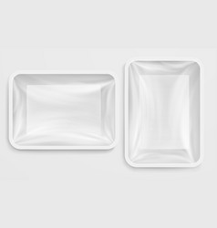 Empty white plastic box food container vector