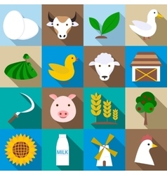 Farm icons set flat style vector image vector image