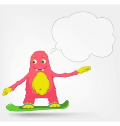 Funny Monster Snowboarding vector image vector image