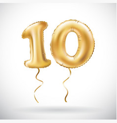 golden number 10 ten metallic balloon party vector image vector image