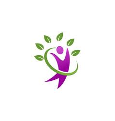 healthcare human leaf logo vector image vector image