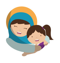 Holy mary virgin with girl character vector