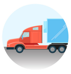 Huge modern truck red spacious cabin inside circle vector