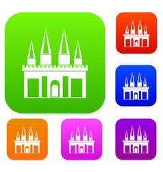 kingdom palace set color collection vector image vector image