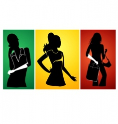 ladies silhouette vector image vector image