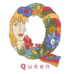 Letter q queen vector