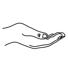 Line person hand with finger and figures vector