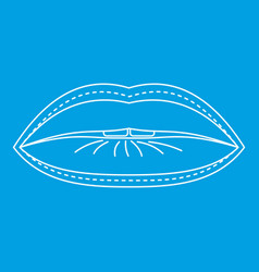 Plastic surgeon of lips icon outline style vector