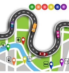 Road infographics winding road with 3d signs the vector