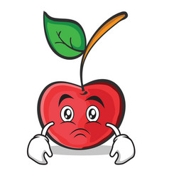 Sad face cherry character cartoon style vector