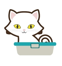 Small cat sitting yellow eyes bathtub vector