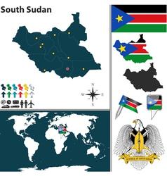 South sudan map world vector