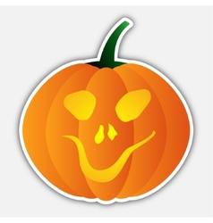 sticker - halloween orange pumpkin head with face vector image vector image