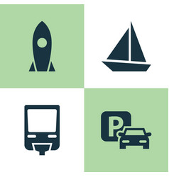 transportation icons set collection of spaceship vector image vector image