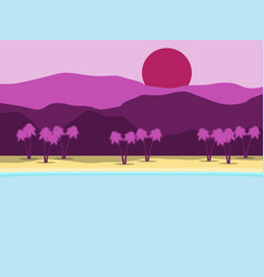 Tropical landscape coast with palm trees vector