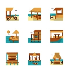 Tropical resort flat color icons vector