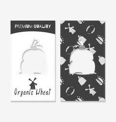 wheat or flour business cards vector image vector image