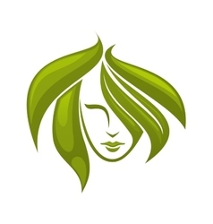 Woman with swirling green hair - icon vector image