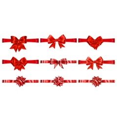 Set of beautiful red bows vector