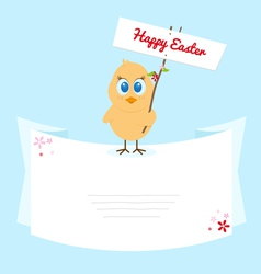 Easter chicken with signboard vector image