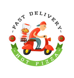 Delivery pizza badge man on scooter vector
