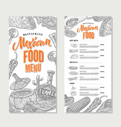 Mexican food restaurant menu template vector