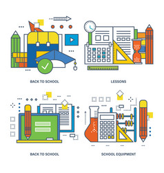 Back to school lesson school equipment vector
