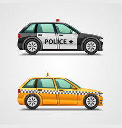 police cars and taxis vector image