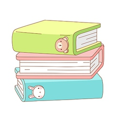 Three of books are piled up vector